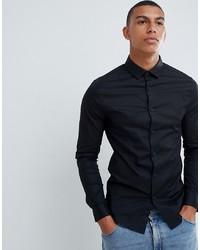 ASOS DESIGN Skinny Shirt In Black