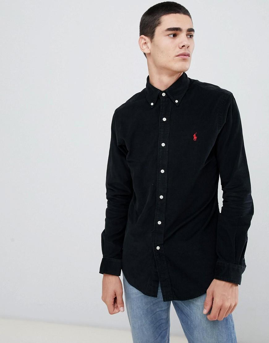 Slim Fit Fine Cord Shirt Player Logo In Black