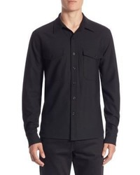 Vince Slim Fit Military Button Up Shirt