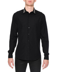 Alexander McQueen Studded Collar Long Sleeve Woven Shirt Black