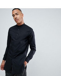 ASOS DESIGN Tline Shirt With Grandad Collar In Black