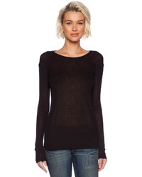 Alexander Wang T By Soft Melange Rib Long Sleeve Tee