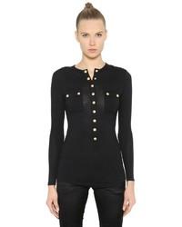 Balmain Wool Jersey Long Sleeve Henley T Shirt