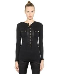Balmain Wool Jersey Long Sleeve T Shirt