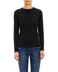 Barneys New York Micro Knit Long Sleeve T Shirt Black
