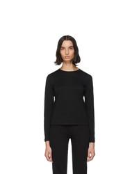 John Elliott Black Cotton High Twist Classic Long Sleeve T Shirt