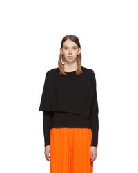 MM6 MAISON MARGIELA Black Double Layer Long Sleeve T Shirt