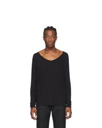 Random Identities Black Drapey V Neck T Shirt