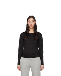 Moncler Black Logo Patch Long Sleeve T Shirt