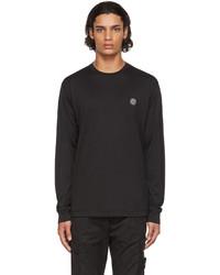 Stone Island Black Logo Patch Long Sleeve T Shirt