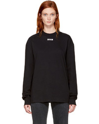 MSGM Black Long Sleeve Logo T Shirt