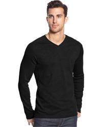 Alfani Black Long Sleeve Ribbed V Neck T Shirt
