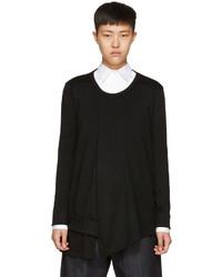 Y's Black Long Sleeve Ruffle T Shirt
