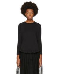 Simone Rocha Black Long Sleeve Smock Ruffle T Shirt