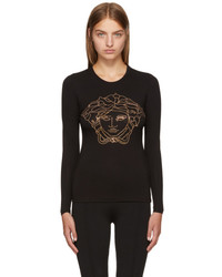 Versace Black Long Sleeve Studded Medusa T Shirt