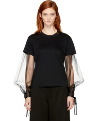 Noir Kei Ninomiya Black Long Sleeve Tulle T Shirt