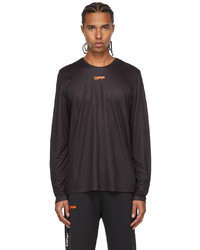 Off-White Black Orange Active Logo Mesh Long Sleeve T Shirt