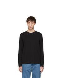 Helmut Lang Black Overlay Logo Long Sleeve T Shirt