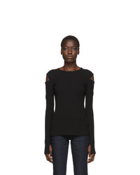 Helmut Lang Black Rib Slash Long Sleeve T Shirt