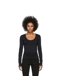 Helmut Lang Black Scoop Neck Long Sleeve T Shirt