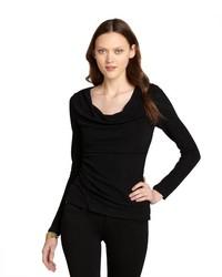 Tahari Black Stretch Glitter Ruched Long Sleeve Glenda Blouse