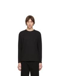 Issey Miyake Men Black Tucked Stripe Long Sleeve T Shirt