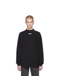 Off-White Black Wavy Line Long Sleeve Logo T Shirt