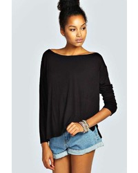 Boohoo Dion Long Sleeved Oversized Slash Neck Tee