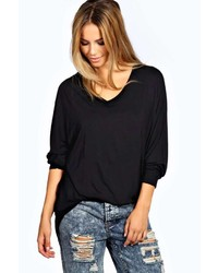 Boohoo Roxy V Neck Oversized Tee