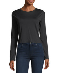 J Brand Carolina Long Sleeve Cropped Cotton Tee