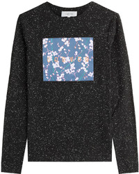 Carven Stretch Cotton Longsleeve T Shirt With Logo Patchwork