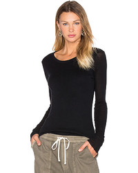 James Perse Cashmere Doubled Long Sleeve Tee In Black Size 0
