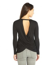 Casual Couture by Green Envelope Black Stretch Knit Long Sleeve Draped Open Back Tee