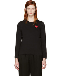 Comme des Garcons Comme Des Garons Play Black Long Sleeve Heart Patch T Shirt