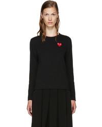 Comme des Garcons Comme Des Garons Play Black Long Sleeve Heart T Shirt