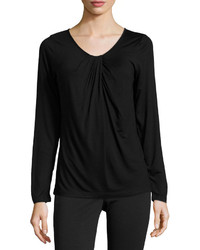 Neiman Marcus Gathered Front Long Sleeve Tee Black