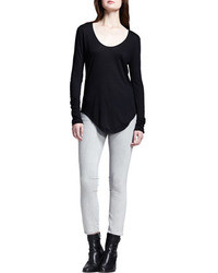 Helmut Lang Helmut Long Sleeve Double Shirttail Tee Black