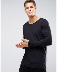 Hugo Boss Hugo By Doops Long Sleeve Top Scoop Neck Raw Edge