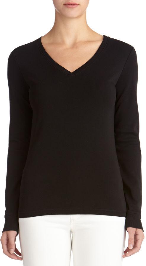 Black long sleeve t shirt jones new york long sleeve for Long sleeve v neck tee shirts