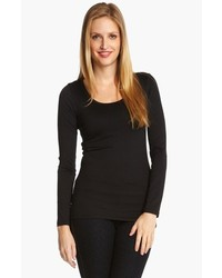 Karen kane supersoft long sleeve tee black x large medium 173957