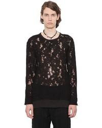 Ann Demeulemeester Linen Devore Effect Long Sleeve T Shirt