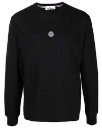 Stone Island Logo Print Long Sleeve T Shirt