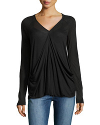 Neiman Marcus Long Sleeve Draped Front Jersey Tee Black