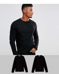 ASOS DESIGN Long Sleeve T Shirt With Crew Neck 2 Pack Save