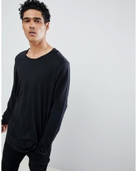 Esprit Longline Long Sleeve T Shirt With Curved Hem In Black