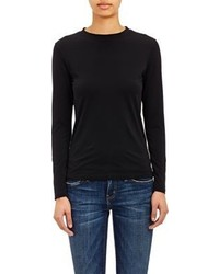 Barneys New York Micro Knit Long Sleeve T Shirt Black