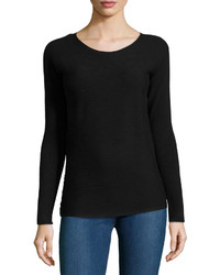 Neiman Marcus Long Sleeve Ribbed Tee Black