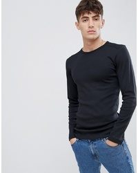 Esprit Organic Cotton Muscle Fit Ribbed Long Sleeve Top