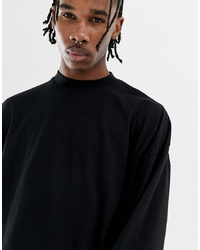 ASOS DESIGN Oversized Long Sleeve T Shirt With Turtle Neck In Black