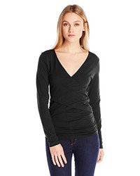 Lilla P Pima Stretch Long Sleeve Cross Front